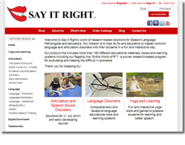 Say It Right Shopsite Website